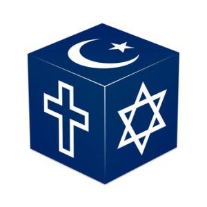 Christianity, Islam, Judaism - Dark Blue Cube